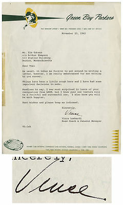 Vince Lombardi Green B Packers Stationery Letter Signed