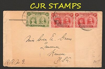 Rhodesia 1912 Cover  -  Salisbury To Usa  -   Double Heads