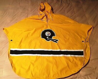 PITTSBURGH STEELERS NFL RAIN PONCHO, FOOTBALL, YELLOW with LOGOS, VINYL, CLEAN