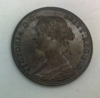 Great Britain 1861 1/2d Brown Half Penny Nice Coin Lustrous