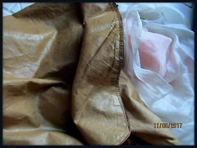 Wonderful Antique Victorian Fine Polished Cotton Fabric Fawn Great Texture Drape
