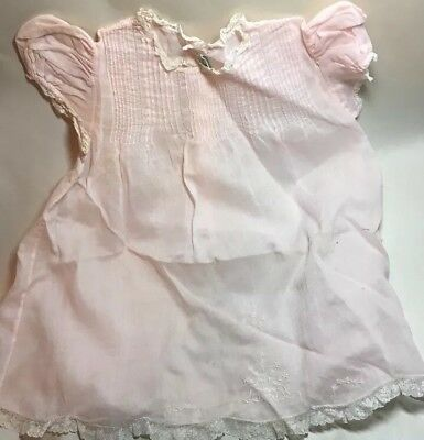 Antique Never Used Lace Edged Embroidered Pink Cotton Baby Dress