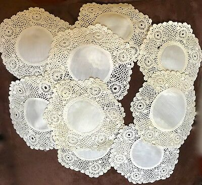 Antique Lace Coaster Rounds  5-1/2 In. Group Of 9 Hand Made
