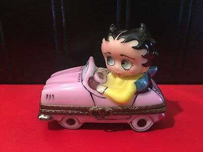 "Betty Boop ""Sunday Drive"" Limoges Collector Box Pink Convertible French Import!"