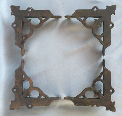 4 Vtg Cast Iron Victorian Screen Door Corner Brackets Support Hardware 326-17J