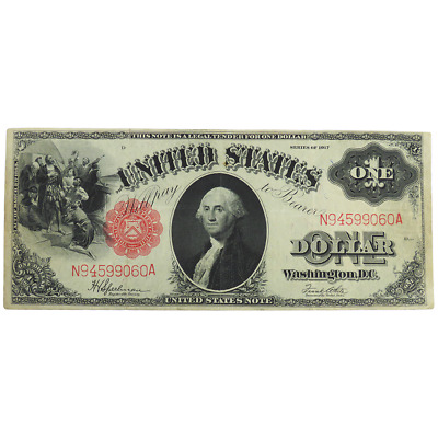 1917 $1 Red Seal Dollar Bill Legal Tender Note
