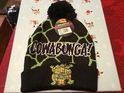 NWT  Teenage Mutant Ninja Turtle Cowabunga Beanie Winter Knit Hat ONE SIZE FITS