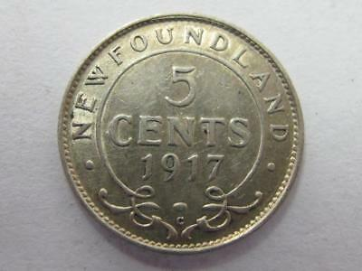 1917 C Silver 10 Cent Coin Newfoundland Key Date Bright Original Au/bu