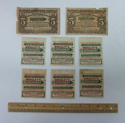 Lot (8) Vintage Wrigley's Spearmint Chewing Gum Wrappers Advertising bv2768