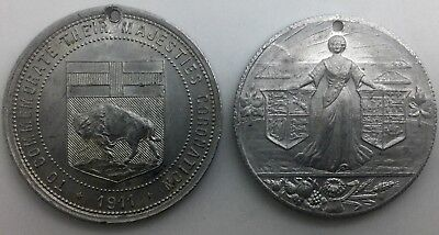 Lot of two early 20th Century  Aluminum Medallions Manitoba George V Bison