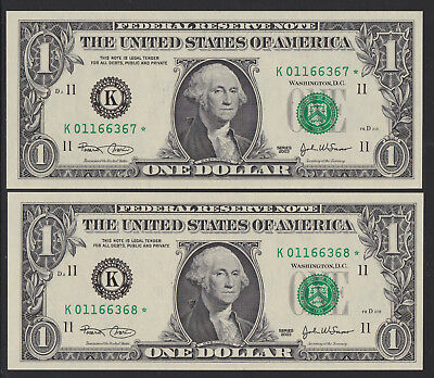 America 2003 : Consecutive pair of American One Dollar STAR Notes, Unc.