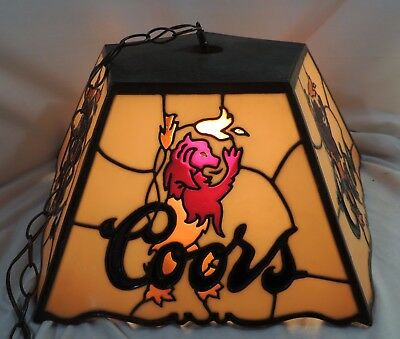 Rare Vintage COORS Beer Chandelier Bar Lamp LION LOGO Thick Resin PICK UP ONLY