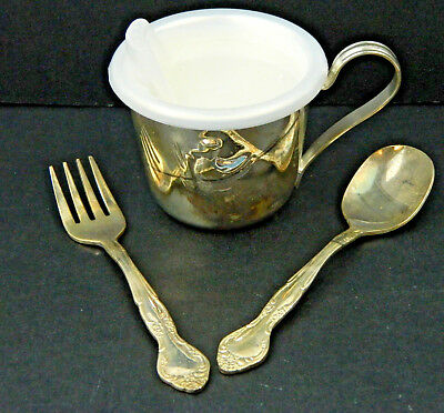 3 Piece Baby Feeding Set Infant Silver Plated Spoon Fork Sippy Cup Duck Nursery