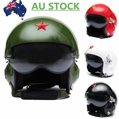 AU Jet Air Force Flight/Pilot Open Face Motorcycle Scooter Visors Helmet HOT