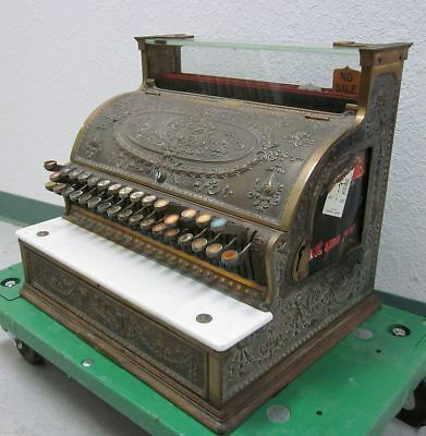 Beautiful Ornate Antique Heavy Metal National Cash Register w/Key Model 356-G