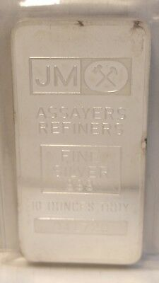 1 - JM JOHNSON MATTHEY Vintage 10 Troy Silver ounces Bar .999 VERY RARE! N/R