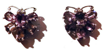 Vintage Amethyst Butterfly Silver Sterling Earrings Gemstone Natutal Faceted Wow