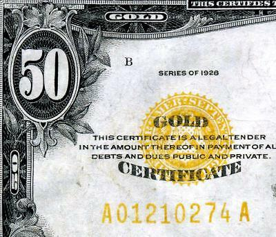 HGR FRIDAY 1928 $50 Gold Certificate ((RARE Issue)) VERY HIGH GRADE