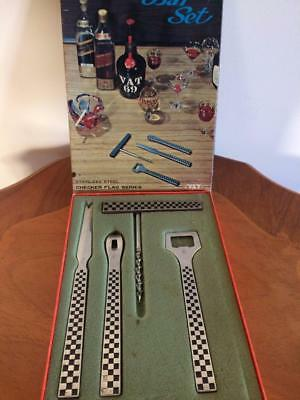 Vintage Boxed Yax Stainless Steel 4Pc Checker Flag Series Bar Set Mancave