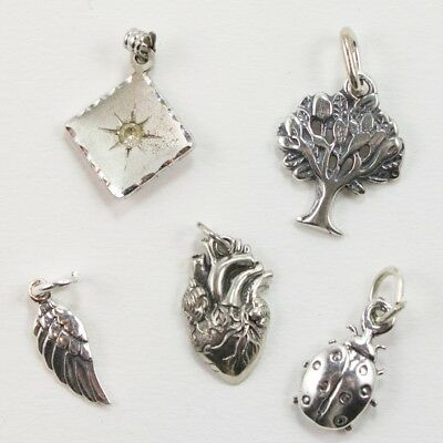 VTG Sterling Silver - Lot of 5 Assorted Charm Pendants NOT SCRAP - 6g