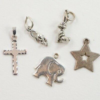 VTG Sterling Silver - Lot of 5 Assorted Charm Pendants NOT SCRAP - 3g