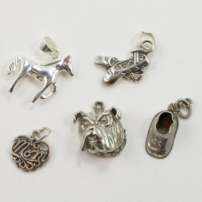 VTG Sterling Silver - Lot of 5 Assorted Charm Pendants NOT SCRAP - 5g