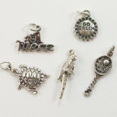 VTG Sterling Silver - Lot of 5 Assorted Charm Pendants NOT SCRAP - 8g
