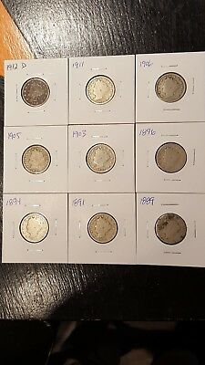 Liberty V nickel lot 9 coins total