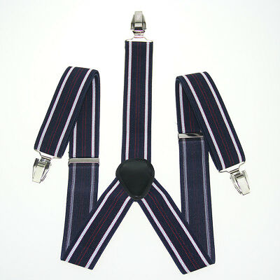 Navy White Red Striped Unisex Men's Adjustable Clip-on Suspenders Braces