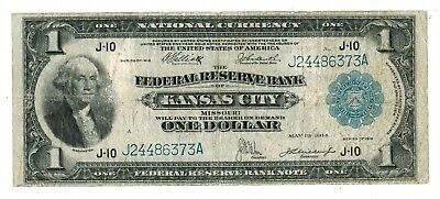 1918  U.S. $1 LARGE SIZE BLUE SEAL FEDERAL RESERVE KANSAS CITY FR#739 (gdc)