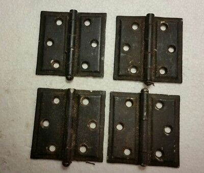 4 Matching Vintage Steel Cabinet Hinges  Painted Shabby Antique  (#52H)