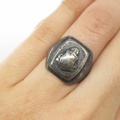 Antique Balfour 925 Sterling Silver Wide Signet Ring Size 5