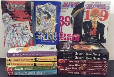 Japanese Manga Book Lot Of 15, Case Closed, Chobits, Love Hina, Great Condition