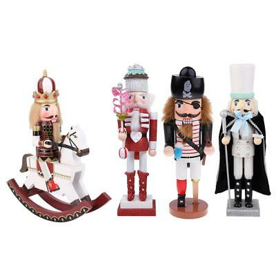 4PCS Wooden Nutcracker Soldier Toy Crafts Christmas Ornament Decoration Gift