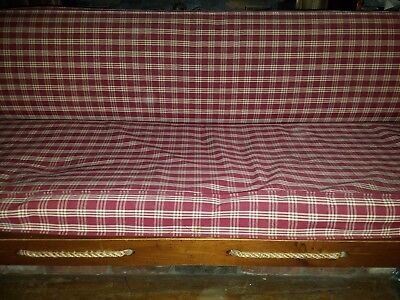 """Vintage workers rope wood day bed 6 feet long 72"""" couch sofa"""