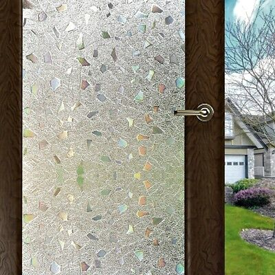 Vinyl 3D Static Cling Privacy Stained Glass Door Window Film Heat Controler