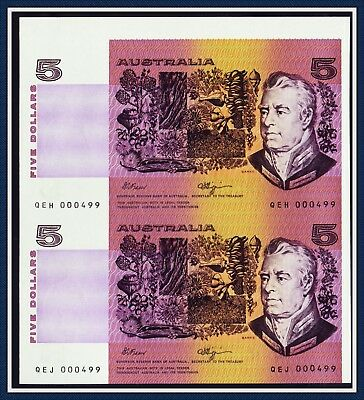 """""""Uncut"""" Consecutive Prefixes $5 Paper Banknotes with same serial with Selvedge."""