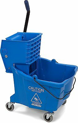 Carlisle 3690414 Commercial Mop Bucket With Side Press Wringer, 35 Quart Blue