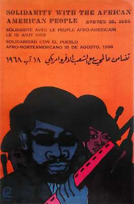 Poster Cuba Solidarity with the African American 1968 Lazaro Abreu OPSAAAL Rare