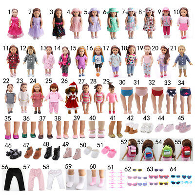 """64 Styles Clothes Shoes Socks Bag Hat for 18"""" American Girl Zapf Baby Born Dolls"""