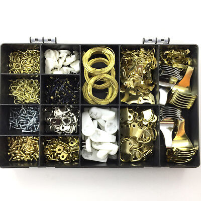 606 Piece Professional Assorted Picture Hanging Kit-Dado Pin Wire Hook Eye