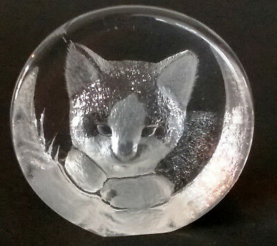 Mats Jonasson Briefbeschwerer Paper weight Katze Cat Bleikristall, 5 cm