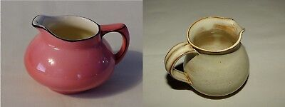 Pair Of Small Jugs - Vintage Pink Crown Ducal Jug & Cream Glazed Pottery Jug