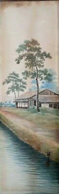 Vintage Chinese Watercolor Painting Landscape Signed 48.5 X 15 cm