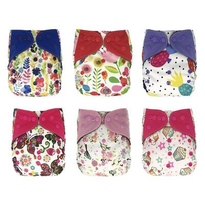 EcoAble Baby One Size Cloth Diapers Lot with Bamboo Inserts, All In One AIO, 6
