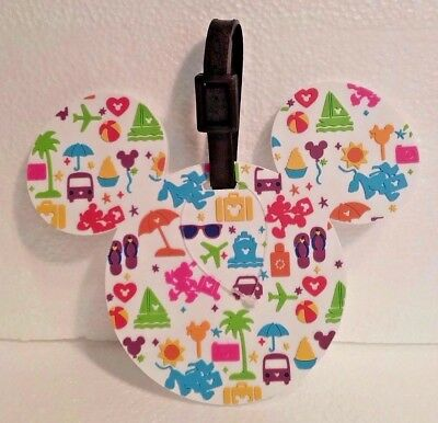 NEW Disney Parks TAG Collection Mickey Icon Characters White Luggage Travel Tag