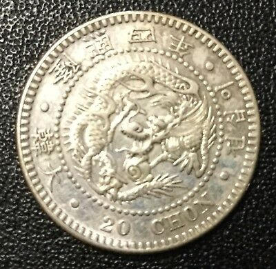 1907 Korea 20 Chon Silver Uncirculated Coin!