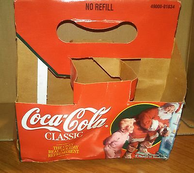 1995 Coca-Cola NEW Coke 8oz Bottle 6 Six Pack Carrier Christmas Bright Colors