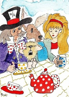 oRiGiNaL WaTeRCoLoR ACEO 'MaD HaTTERS TEa PaRTY alice in wonderland mouse asleep