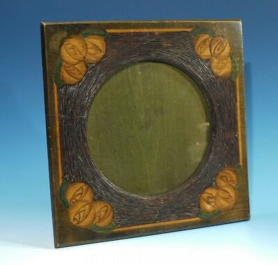 Vintage Art Deco Carved Wood Penwork Photo Frame Circa 1930.